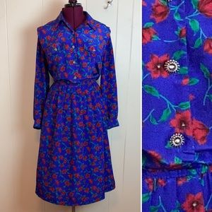 Vintage 80s 90s Blousy Floral Pleated Shirt Dress